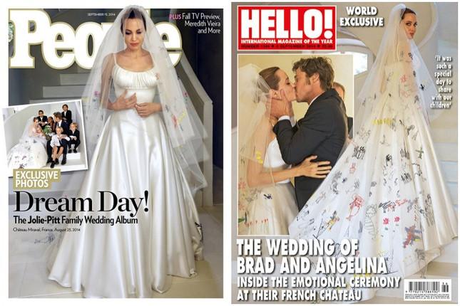 Angelina Jolie Let Her Kids Decorate Her Versace Wedding Gown