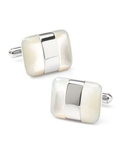 Cufflinks Inc. Men's Silver-Wrapped Mother of Pearl Cufflinks