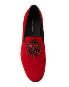 Giuseppe Zanotti swarovski crest suede loafers