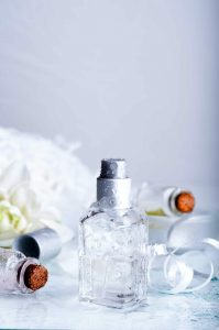 perfume bottles with water backgraund