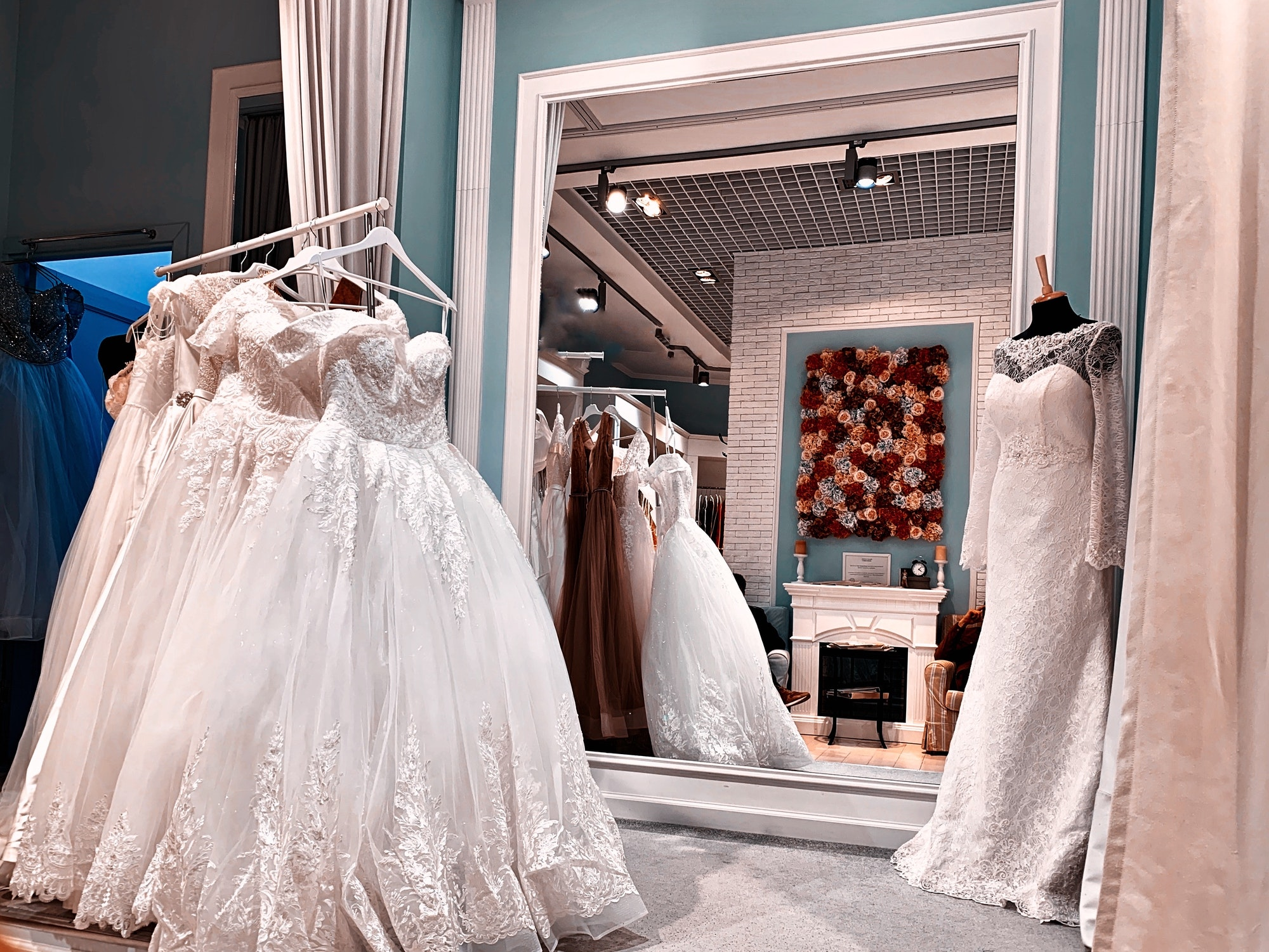 selection of wedding dresses, boutique with dresses