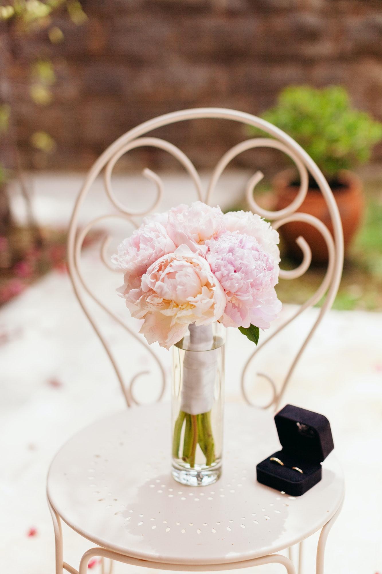 gentle wedding bouquet peonies with rings